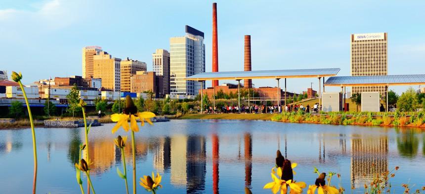 Skyline of Birmingham, AL from the 19-acre Railroad Park.