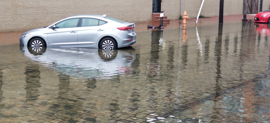 The eastern end of Thames Street in Baltimore's Fells Point neighborhood during a recent nuisance flood event.
