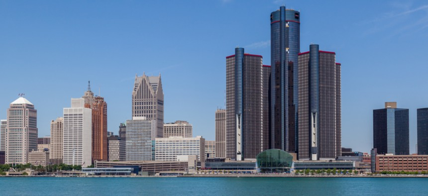 The skyline of Detroit, Michigan. Home values have decreased since 2000 in some majority black neighborhoods along Detroit's Eight Mile Road.