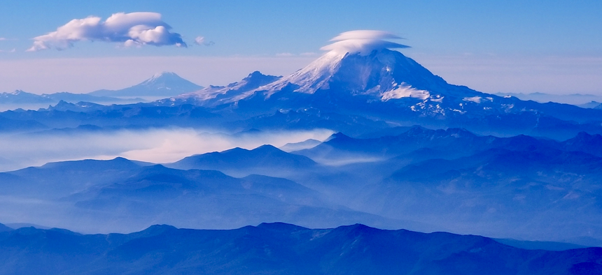 Mount Rainier in Washington state sits in the Cascade volcanic arc.