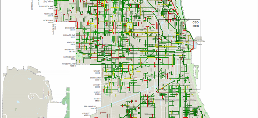 The geography of street resurfacing in Chicago from 2011 to 2018.