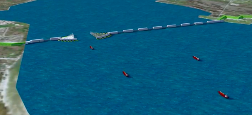 A conceptual plan for the storm barrier near Galveston, Texas that can be closed off ahead of a major hurricane.