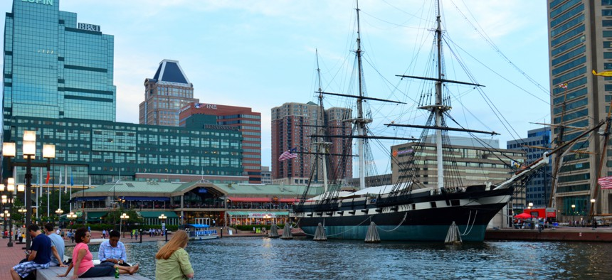 Once a site of derelict piers, Baltimore's inner harbor and other waterfront areas are now dining and shopping destinations.