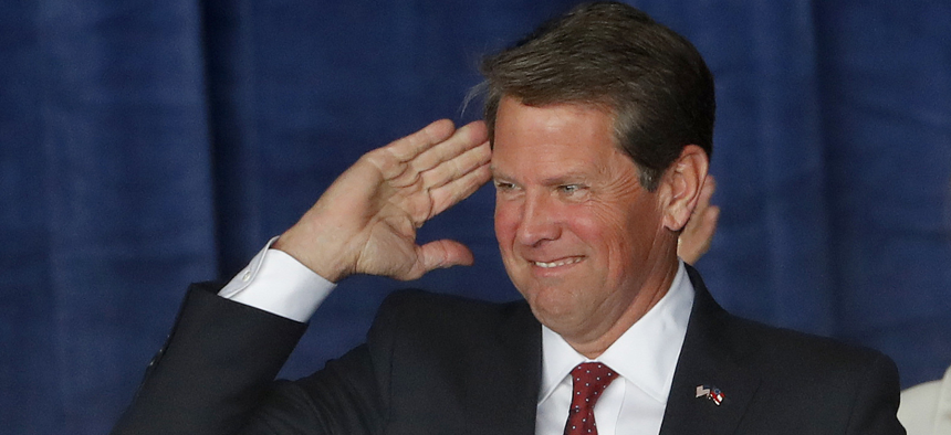 Georgia Secretary of State Brian Kemp at a campaign rally in Macon on Sunday.