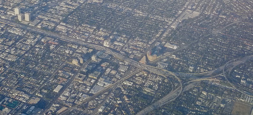 The 405 Freeway on the Westside of Los Angeles.