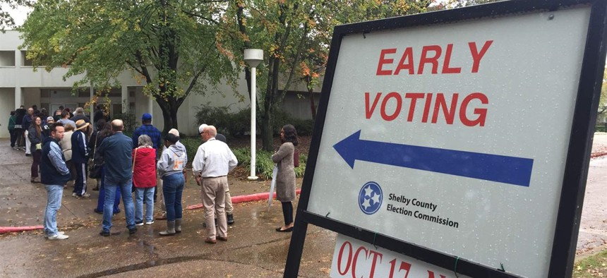 Lines form before polls opened at the Agricenter International early voting location Nov. 1 in Memphis. A common problem during early voting in Memphis, the line proved too long for some would-be voters who left.