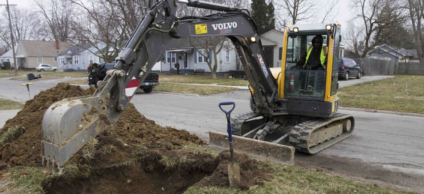 In a photo from March 10, 2017, work continues on the water replacement lines in Flint, Mich.
