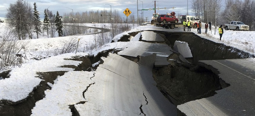 Soil liquefaction from Friday's earthquake caused a highway offramp near Anchorage International Airport to collapse.
