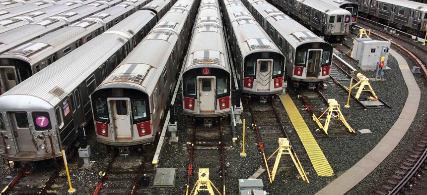 Number 7 subway cars are parked at the MTA's Mets-Willets Point rail yard, February 4, 2018 in New York.