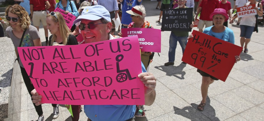 Utah voters approved a ballot measure in November to expand Medicaid in that state after years of contentious protests over the issue, including this one in 2017. Expansion would extend health care benefits to some 150,000 residents in Utah.