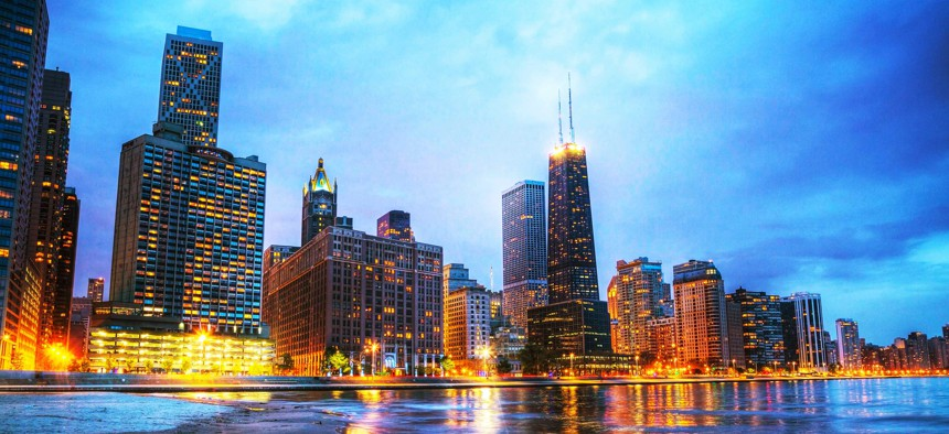 The skyline in downtown Chicago, a city grappling with serious pension funding challenges.