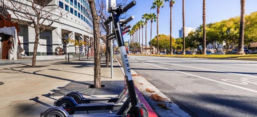 Bird scooters in San Jose, California.