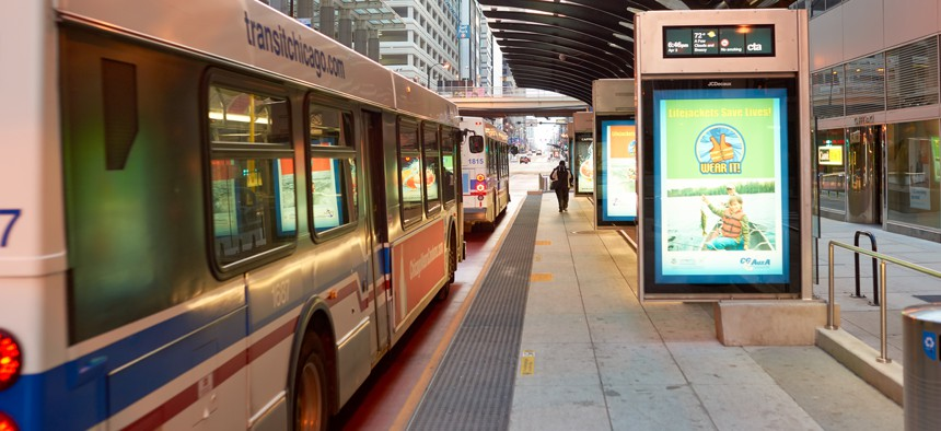 Buses at a stop in Chicago.