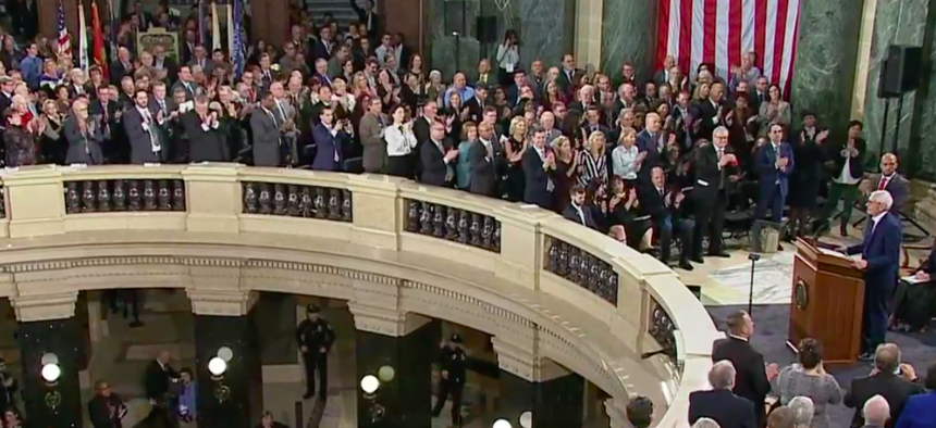 Wisconsin Gov. Tony Evers delivers his inaugural address at the State Capitol in Madison on Monday.