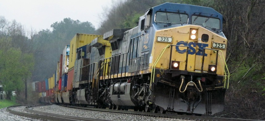 In this March 6, 2018 photo, CSX locomotive number 325 leads an intermodal freight train through Emerson, Ga.