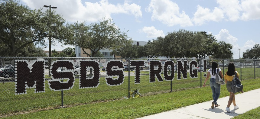 Students of Marjory Stoneman Douglas High School return to a new school year after summer recess at Marjory Stoneman Douglas High School on August 15, 2018 in Parkland, Florida.