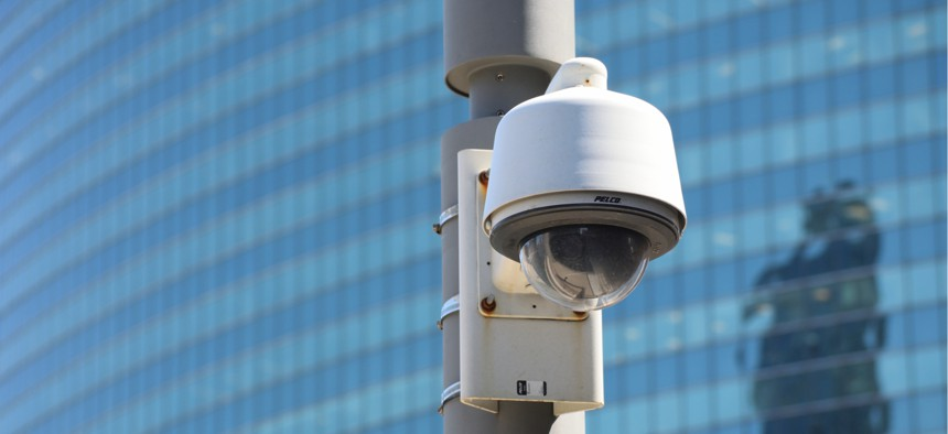 A Chicago police security camera; the force has paired their CCTVs with facial recognition software.