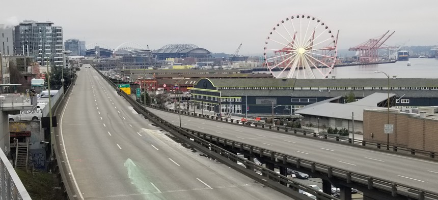The Alaskan Way Viaduct, which formerly carried State Route 99 along the Seattle waterfront, was closed in January.