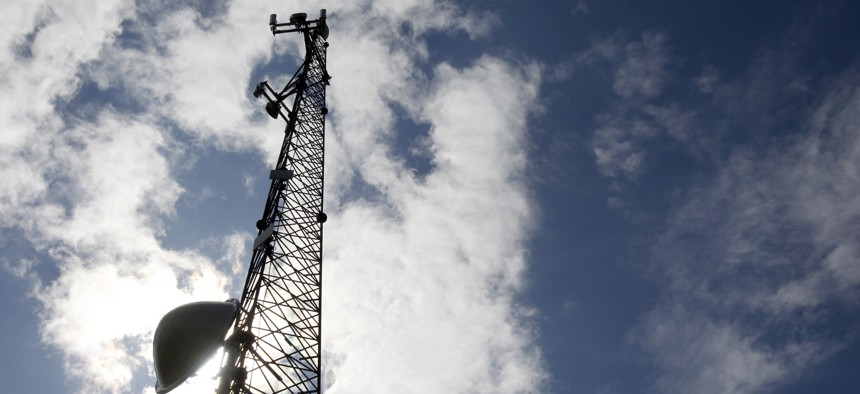 A new broadband tower rises into the sky on June 6, 2012 in Plainfield, Vt.