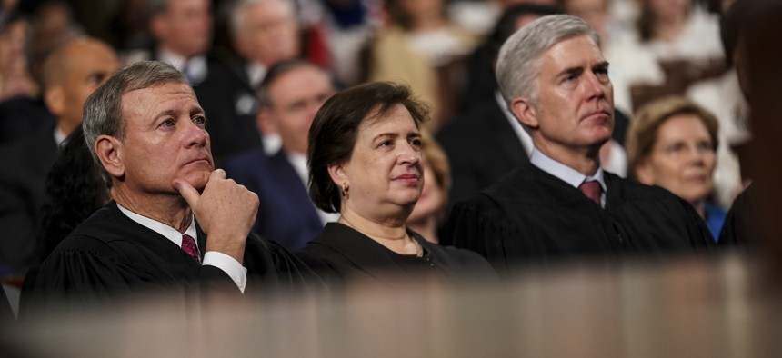 Supreme Court Justices John Roberts, Elena Kagan, and Neil Gorsuch at the State of the Union speech on Feb. 5, 2019.