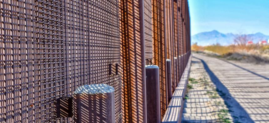 The Mexican/U.S. border wall near downtown El Paso