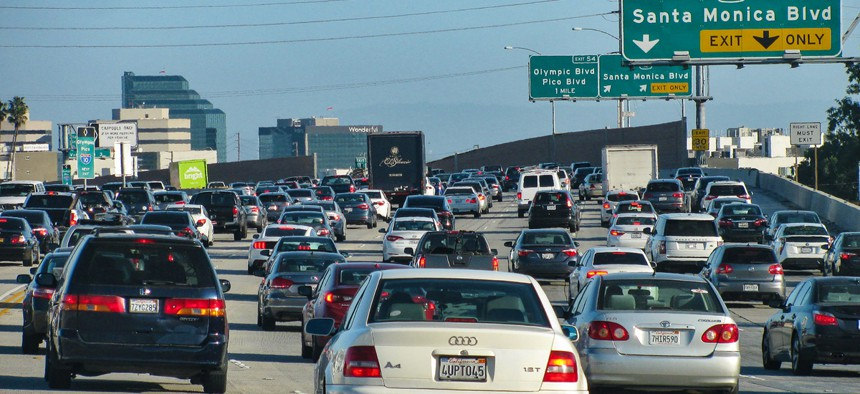 Rush hour traffic on the San Diego Freeway (Interstate 405) approaching downtown LA.