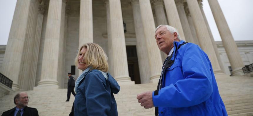 Alaska resident John Sturgeon walks outside the Supreme Court on Nov. 5, 2018 in Washington.