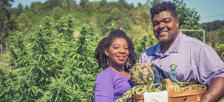 Clarenda Stanley-Anderson and her husband, Malcolm Anderson Sr., are hemp farmers in Liberty, North Carolina. Stanley-Anderson wants to expand the representation of hemp farmers, even if she's far from the average industry insider.