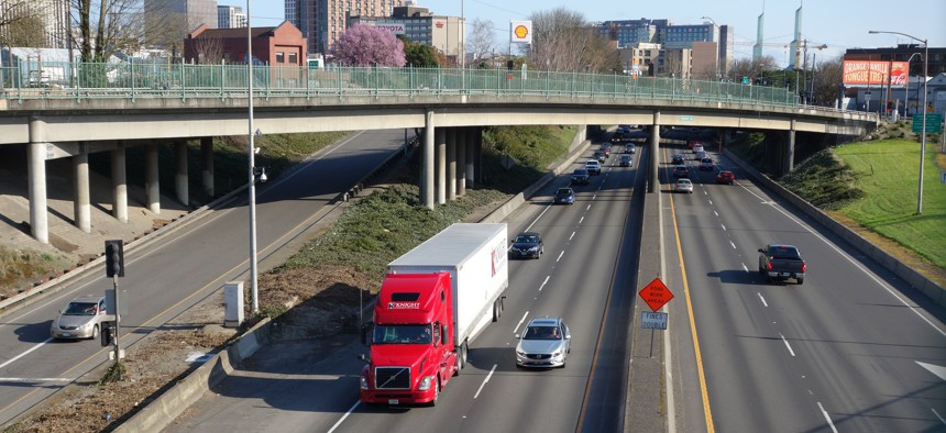 Interstate 5 in Portland's Rose Quarter, looking south from Flint Street.
