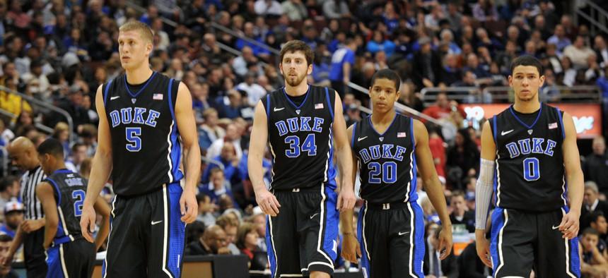 Players on Duke's basketball team, a member of the NCAA.