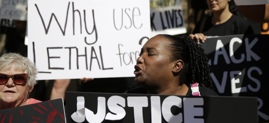 Residents of Austin protest police brutality after the shooting of teenager David Joseph by a police officer in 2016.