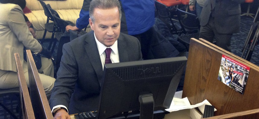 In March 2018, U.S. Rep. David Cicilline completes his census form on a computer at a library in Providence, R.I. The nation's only test run of the 2020 Census was conducted in Rhode Island.