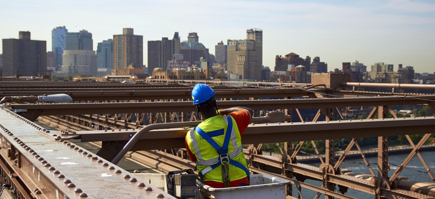 Construction worker on the Brooklyn Bridge