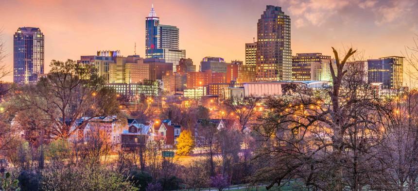 The skyline in Raleigh, North Carolina.
