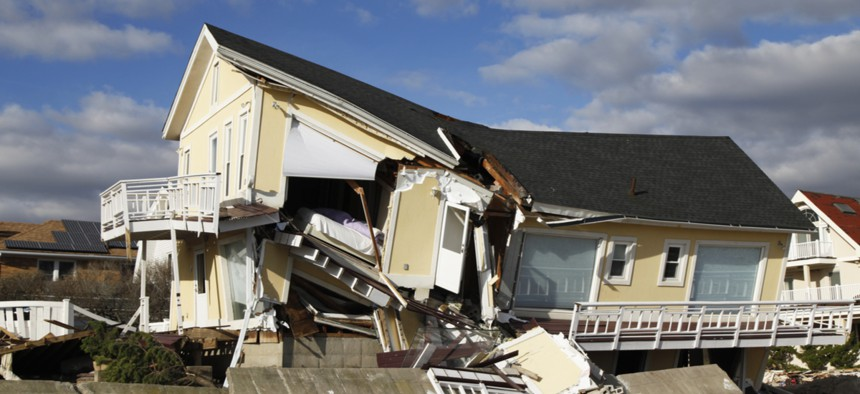 A house destroyed by Hurricane Sandy in Far Rockaway, NY.