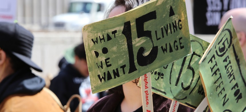 A protest in New York in support of a $15 minimum wage.