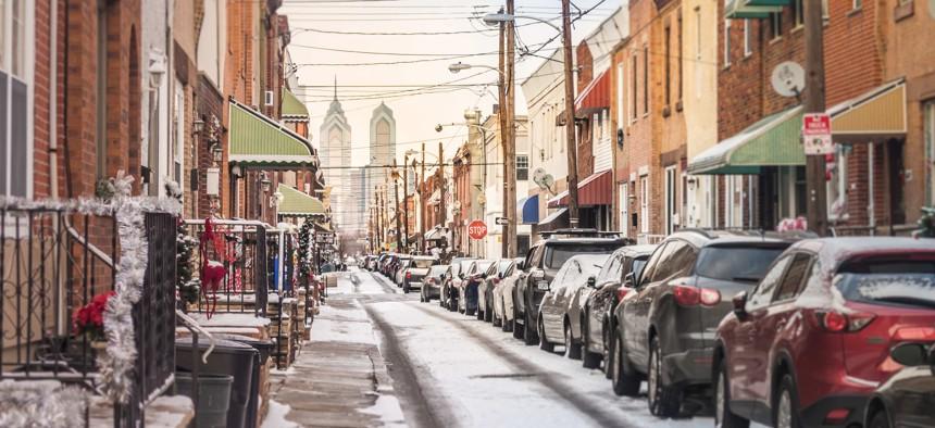 A snowy street in Philadelphia.