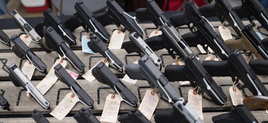 Guns on display at a gun show in Wisconsin.
