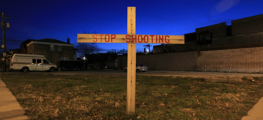 An empty lot in on Chicago's west side. The city hopes that by making vacant lots places of community, gun violence will decrease.