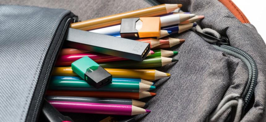A vape sits in a pencil case.
