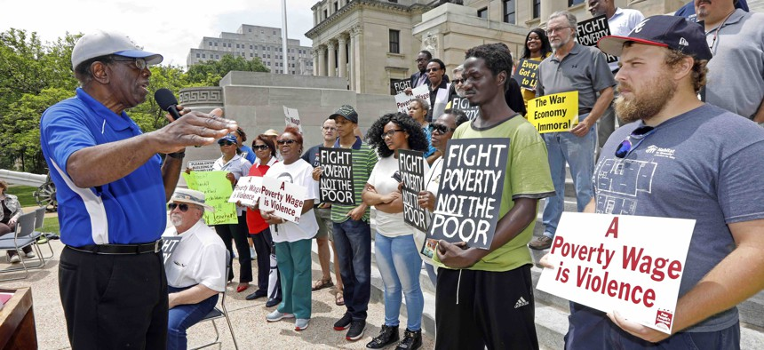 Protesters at the Mississippi Capitol in Jackson, in June 2018, gathered to demand lawmakers and statewide elected officials address the need for union rights, living wages, fully funded anti-poverty programs and support of public education.