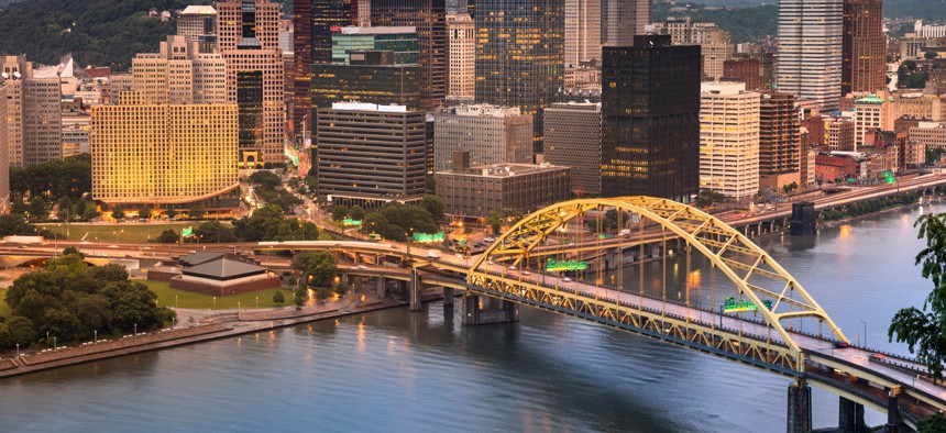 At micromobility locations in Pittsburgh, travelers would find some combination of bike-share stations, Zipcar vehicles, Waze carpool pickup spots, and parked and charged e-bikes and scooters from Spin to rent.