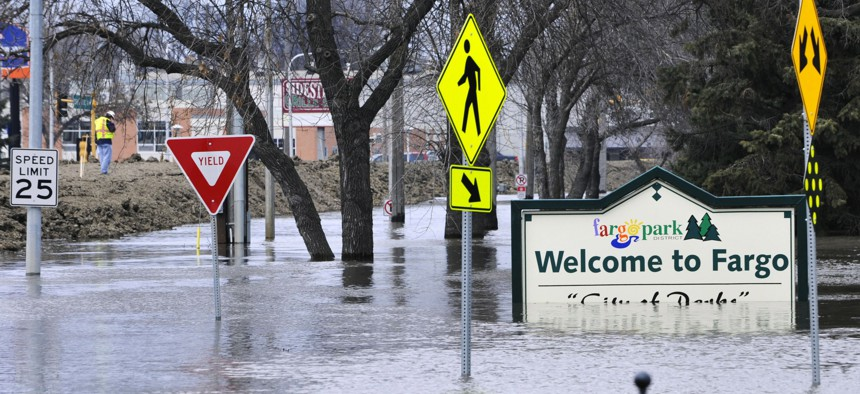 Rising floodwaters of the Red River have covered Fargo on several occasions.