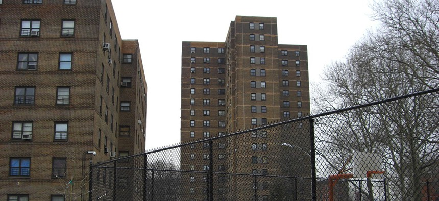 """The Wagner Public Housing complex in New York City. When the authors compared data from 4,000 subsidized housing and market-rate units throughout New York City, finding that the low-income units had """"statistically significant"""" higher EUI levels."""