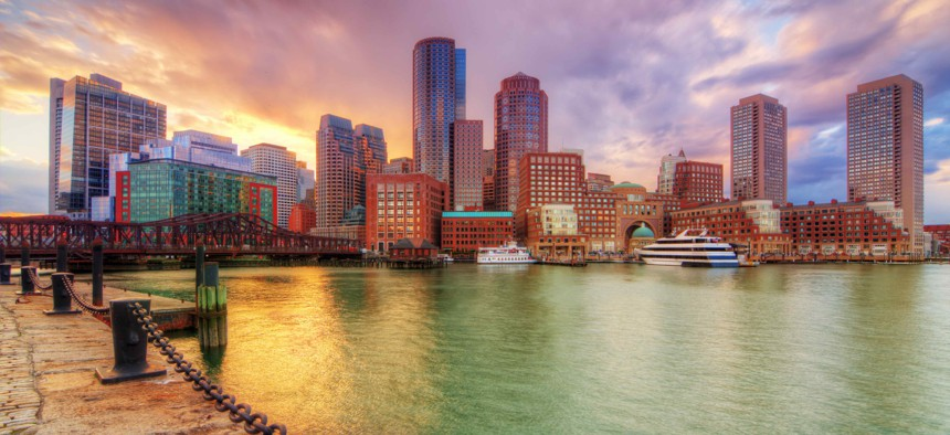 Boston's downtown skyline. Elected leaders in the city are looking to higher-end real estate transactions as a possible source of revenue for affordable housing.