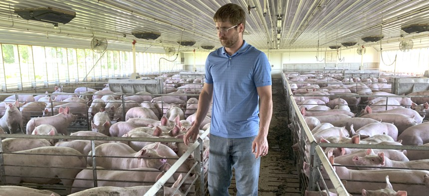 Farmer Matthew Keller walks through one of his pig barns near Kenyon, Minn. Keller, who also grows crops, received more than $140,000 under the Trump administration's aid package for farmers struggling because of the U.S. trade dispute with China.