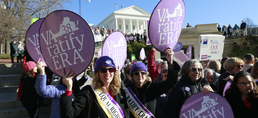 Equal Rights Amendment supporters demonstrate outside the Virginia State Capitol,