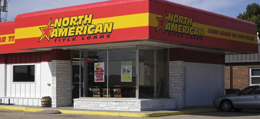 This Sept. 30, 2016, photo, shows a North American Title Loans location in Sioux Falls, S.D.