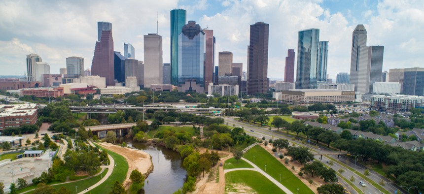 Aerial view of downtown Houston