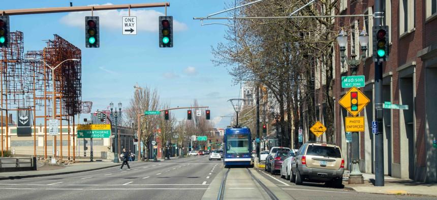 A street in Portland, Oregon.